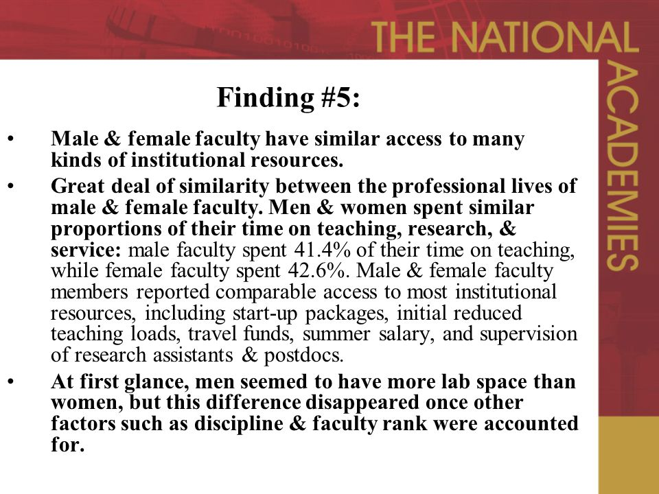 Finding #5: Male & female faculty have similar access to many kinds of institutional resources.