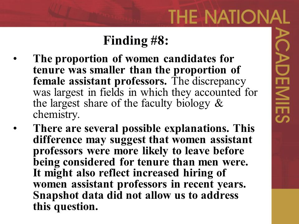 Finding #8: The proportion of women candidates for tenure was smaller than the proportion of female assistant professors.