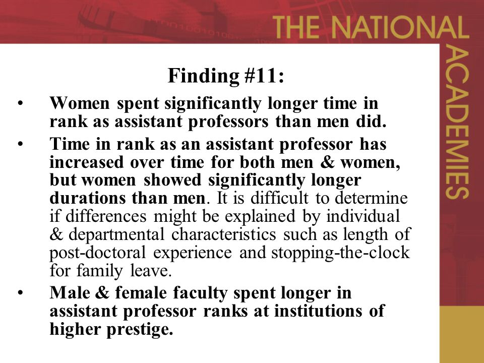 Finding #11: Women spent significantly longer time in rank as assistant professors than men did.