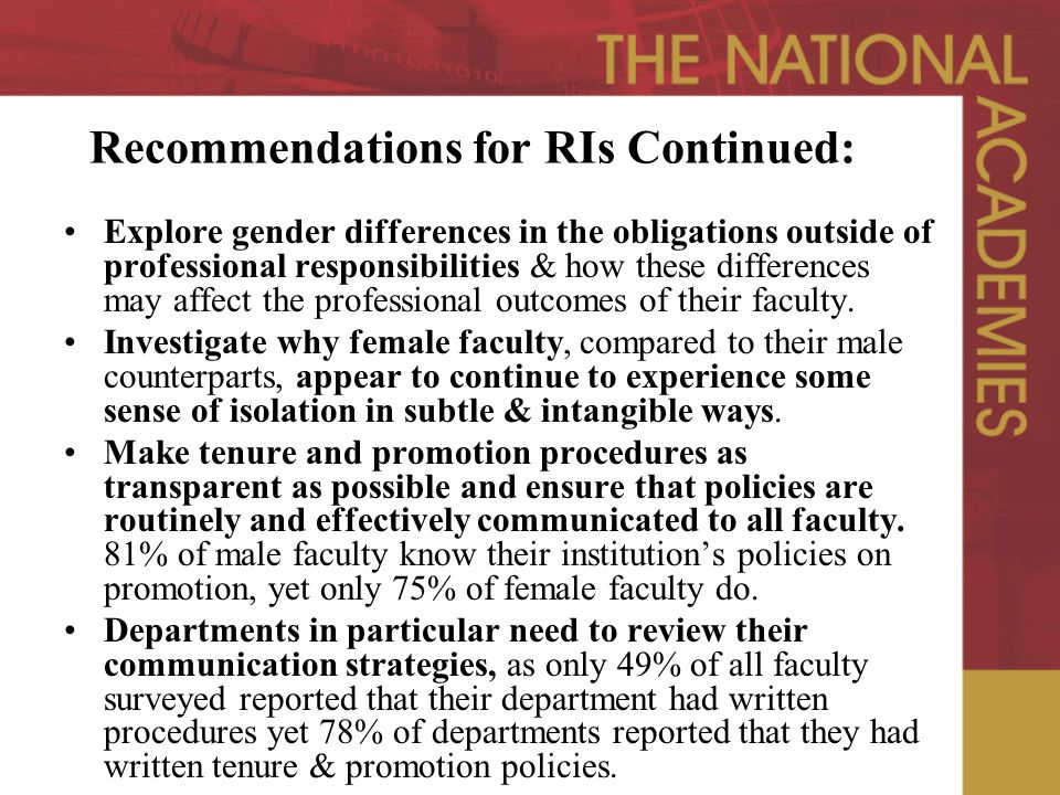 Recommendations for RIs Continued: Explore gender differences in the obligations outside of professional responsibilities & how these differences may affect the professional outcomes of their faculty.