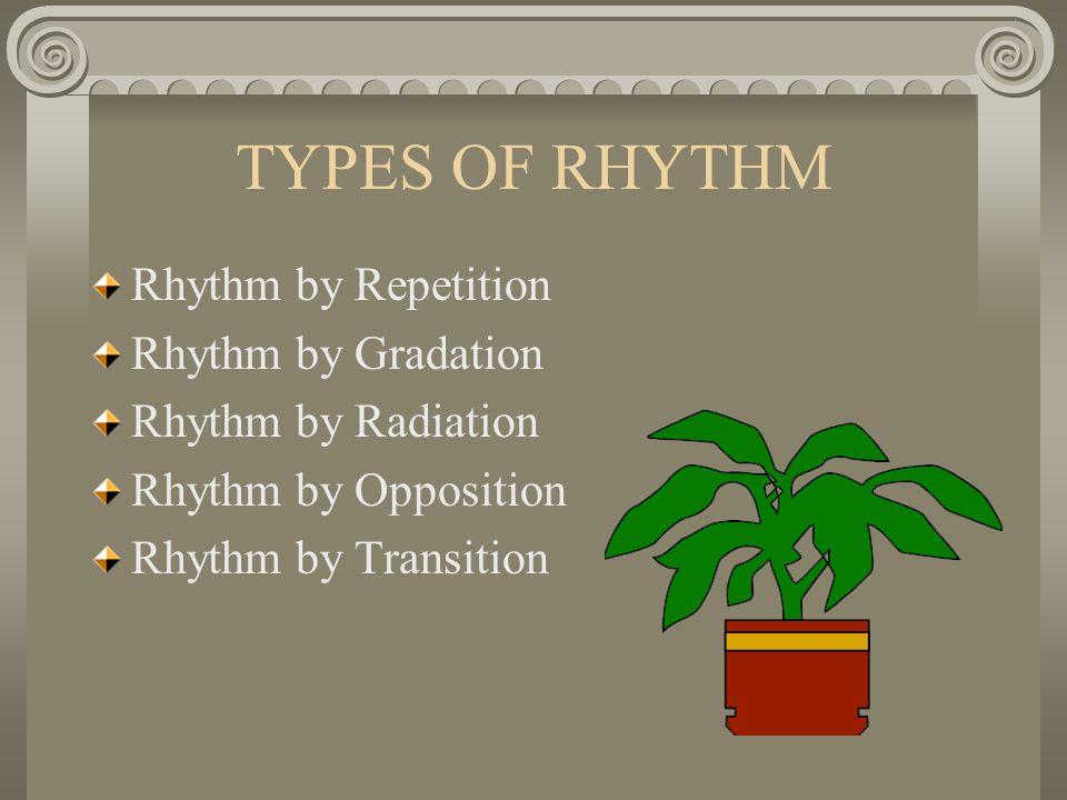 TYPES OF RHYTHM Rhythm by Repetition Rhythm by Gradation Rhythm by Radiation Rhythm by Opposition Rhythm by Transition