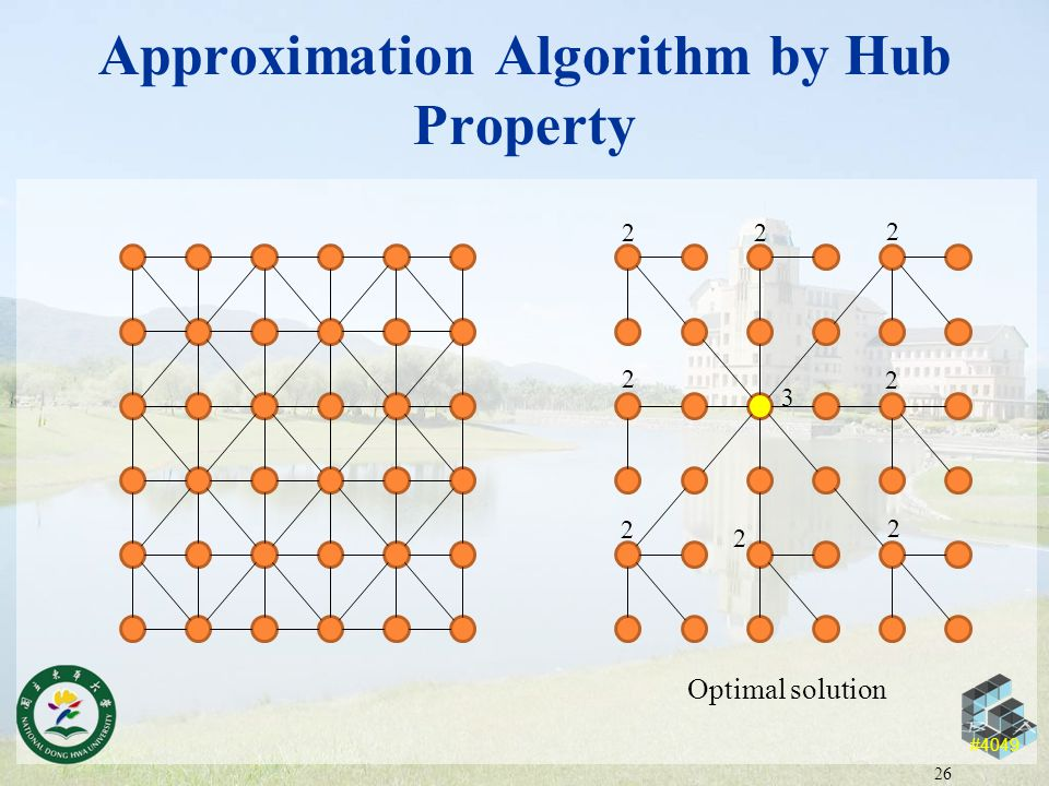#4049 Approximation Algorithm by Hub Property 26 3 2 2 22 2 2 2 2 Optimal solution
