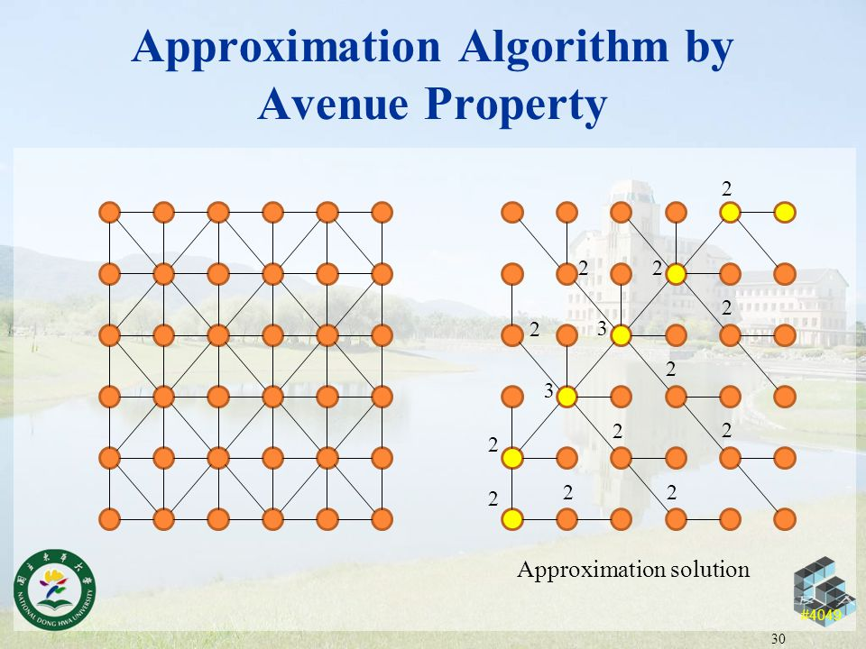 #4049 Approximation Algorithm by Avenue Property 30 2 2 2 2 2 2 2 2 2 2 2 3 2 3 Approximation solution