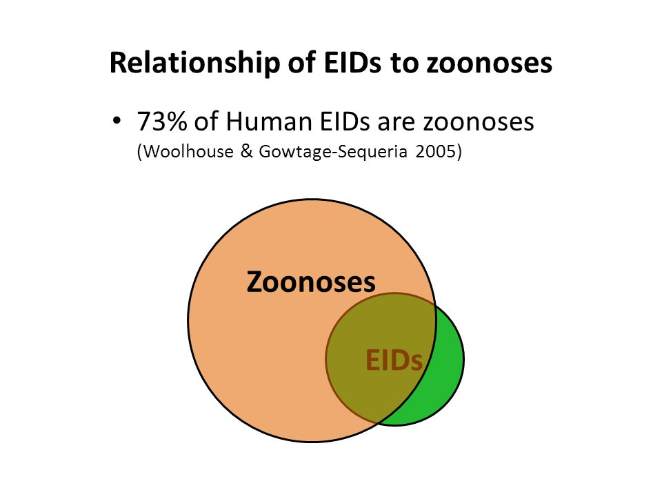 EIDs Relationship of EIDs to zoonoses 73% of Human EIDs are zoonoses (Woolhouse & Gowtage-Sequeria 2005) Zoonoses
