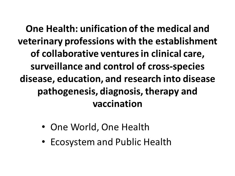 One Health: unification of the medical and veterinary professions with the establishment of collaborative ventures in clinical care, surveillance and control of cross-species disease, education, and research into disease pathogenesis, diagnosis, therapy and vaccination One World, One Health Ecosystem and Public Health