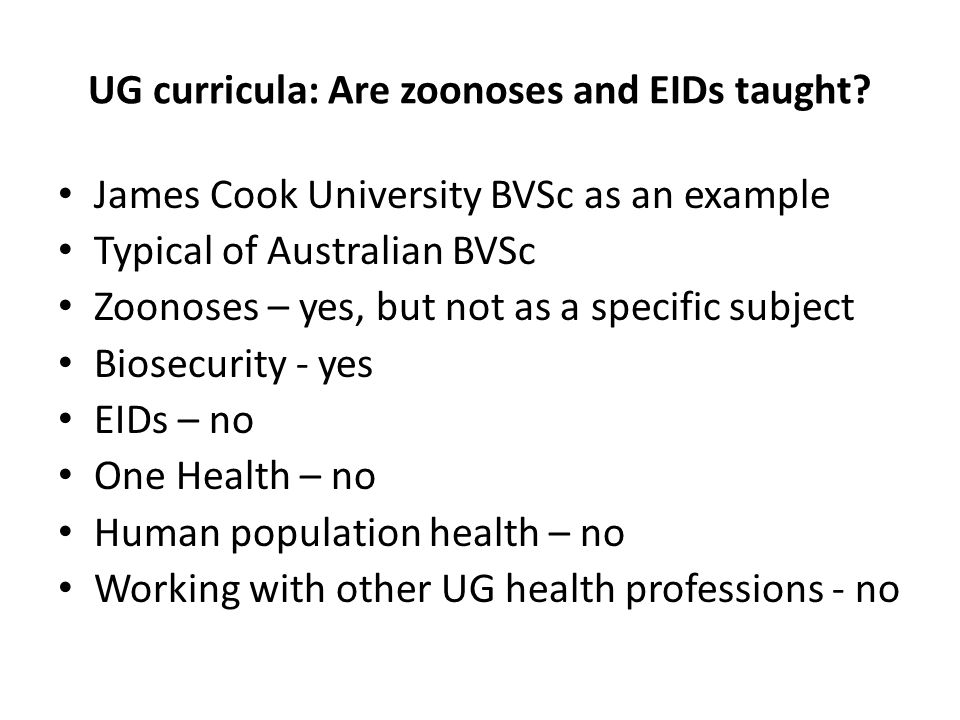 UG curricula: Are zoonoses and EIDs taught.