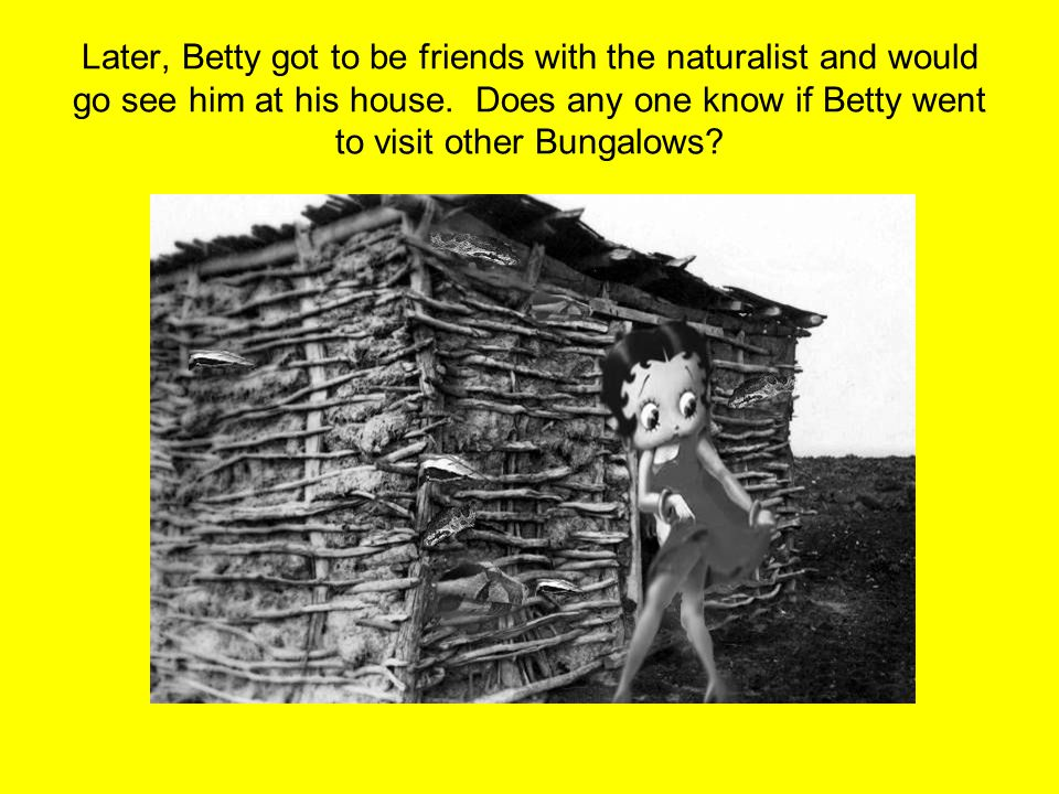 Later, Betty got to be friends with the naturalist and would go see him at his house. Does any one know if Betty went to visit other Bungalows?