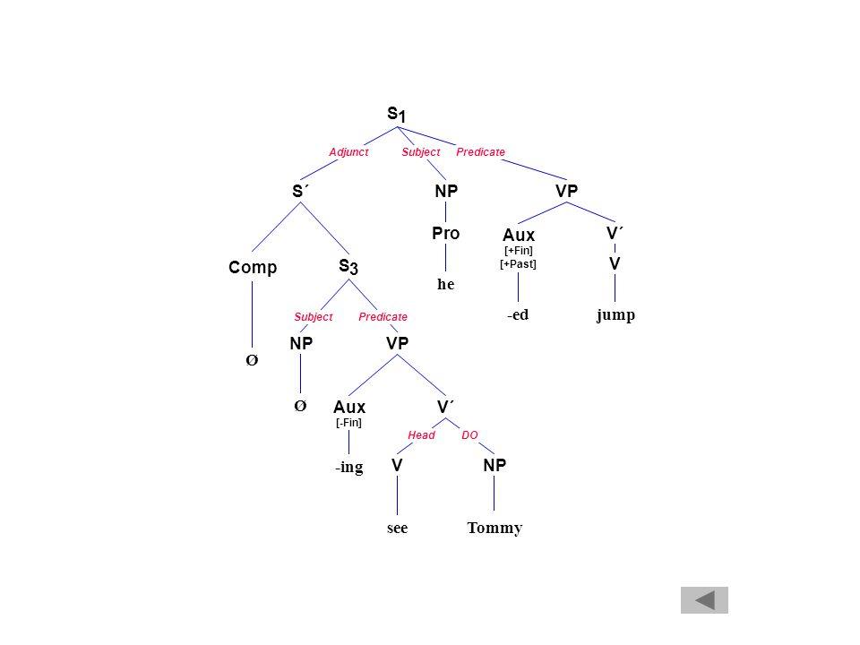 AdjunctSubjectPredicate SubjectPredicate HeadDO S 1 S´NPVP Pro he Aux [+Fin] [+Past] V´ -ed V jump Comp S 3 NPVP Aux [-Fin] -ing V´ VNP Ø Ø seeTommy