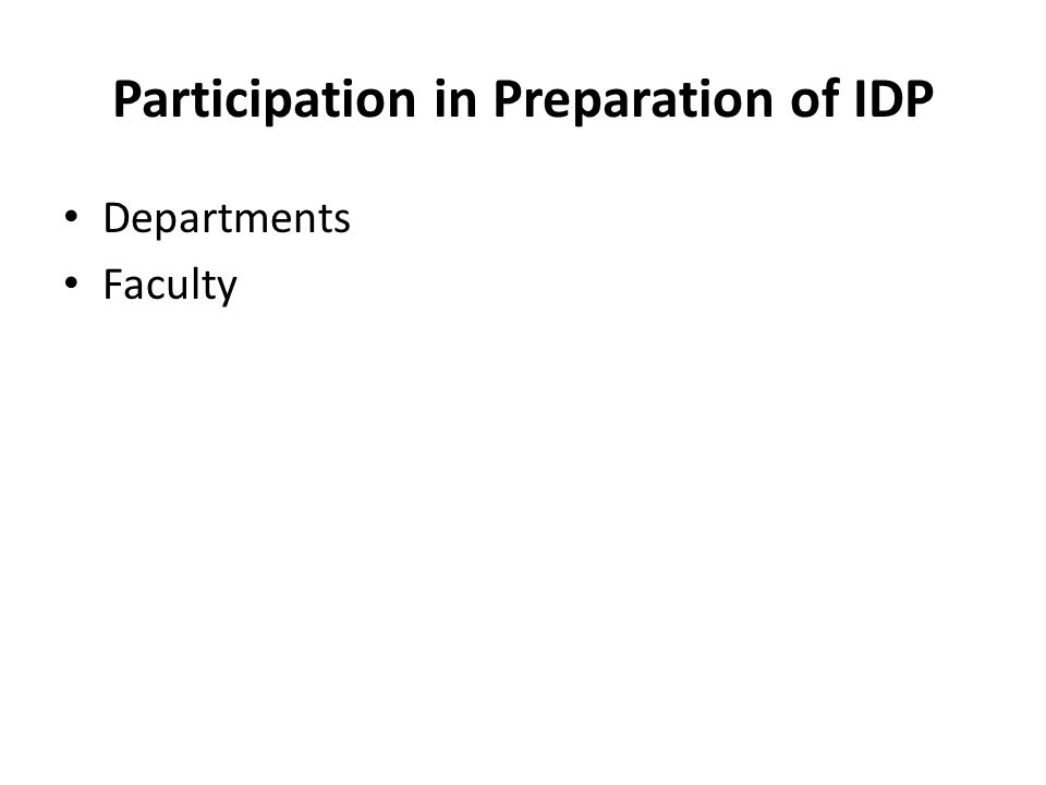 Participation in Preparation of IDP Departments Faculty