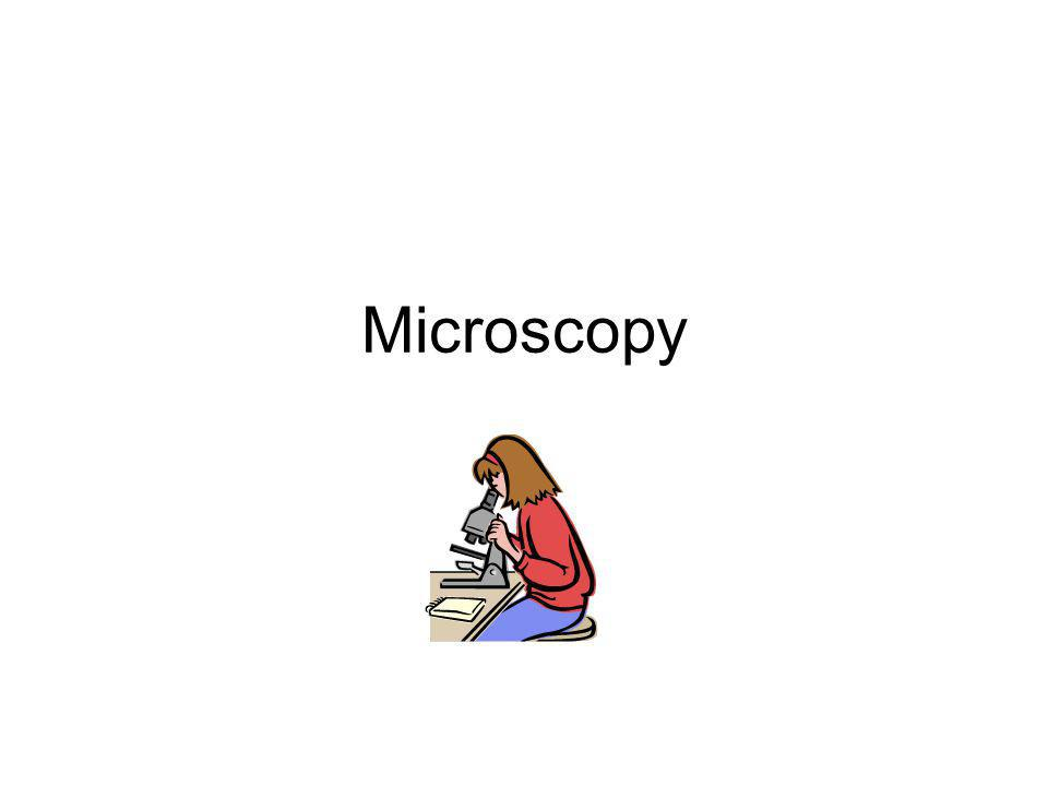 Size of objects under the microscope 3 example Magnification x100, field of view for x400 = 350  m Field of view for x100 = 1400  m Cell is about ½ of field of view = 750  m