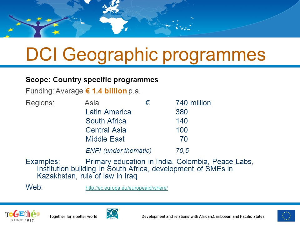 Development and relations with African,Caribbean and Pacific StatesTogether for a better world DCI Geographic programmes Scope: Country specific programmes Funding:Average € 1.4 billion p.a.
