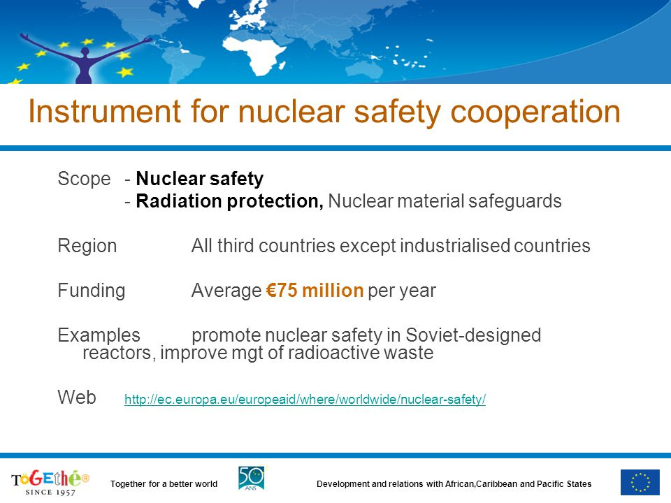 Development and relations with African,Caribbean and Pacific StatesTogether for a better world Instrument for nuclear safety cooperation Scope- Nuclear safety - Radiation protection, Nuclear material safeguards RegionAll third countries except industrialised countries FundingAverage €75 million per year Examplespromote nuclear safety in Soviet-designed reactors, improve mgt of radioactive waste Web http://ec.europa.eu/europeaid/where/worldwide/nuclear-safety/ http://ec.europa.eu/europeaid/where/worldwide/nuclear-safety/