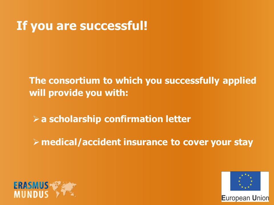 If you are successful! The consortium to which you successfully applied will provide you with:  a scholarship confirmation letter  medical/accident