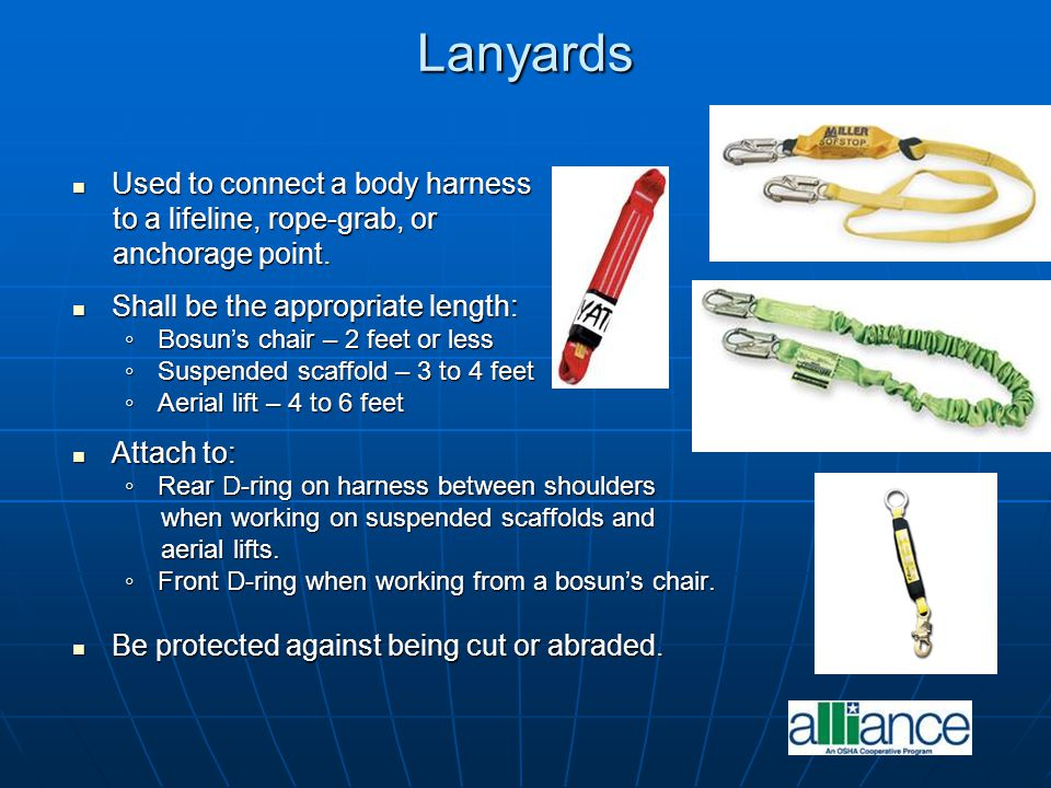 Lanyards Used to connect a body harness Used to connect a body harness to a lifeline, rope-grab, or to a lifeline, rope-grab, or anchorage point. anch
