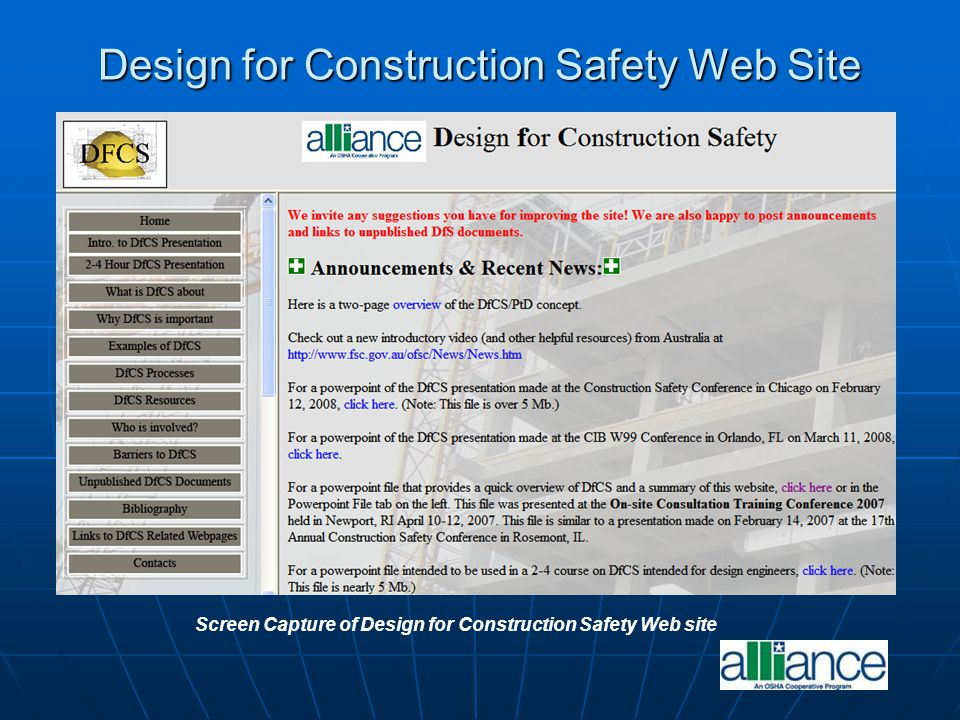 Screen Capture of OSHA's Alliance Program Construction Roundtable Web Page Alliance Program Construction Roundtable