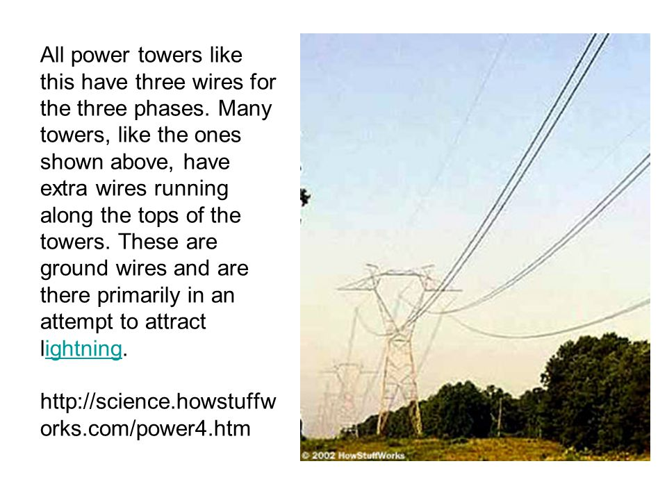 All power towers like this have three wires for the three phases. Many towers, like the ones shown above, have extra wires running along the tops of t