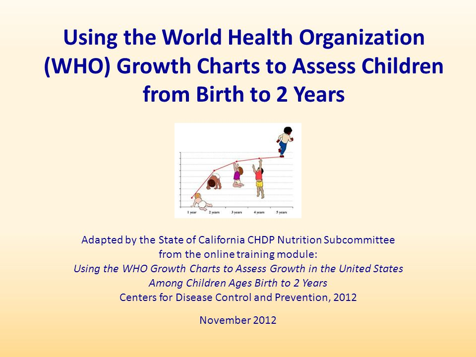 Adapted by the State of California CHDP Nutrition Subcommittee from the online training module: Using the WHO Growth Charts to Assess Growth in the Un