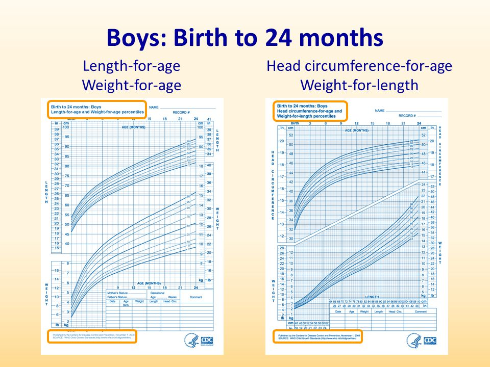Boys: Birth to 24 months Head circumference-for-age Weight-for-length Length-for-age Weight-for-age
