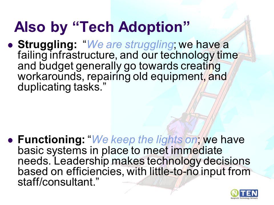 Also by Tech Adoption Struggling: We are struggling; we have a failing infrastructure, and our technology time and budget generally go towards creating workarounds, repairing old equipment, and duplicating tasks. Functioning: We keep the lights on; we have basic systems in place to meet immediate needs.