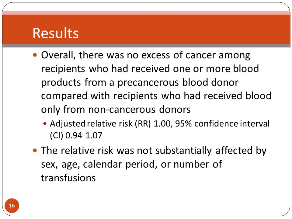 16 Results Overall, there was no excess of cancer among recipients who had received one or more blood products from a precancerous blood donor compared with recipients who had received blood only from non-cancerous donors Adjusted relative risk (RR) 1.00, 95% confidence interval (CI) The relative risk was not substantially affected by sex, age, calendar period, or number of transfusions