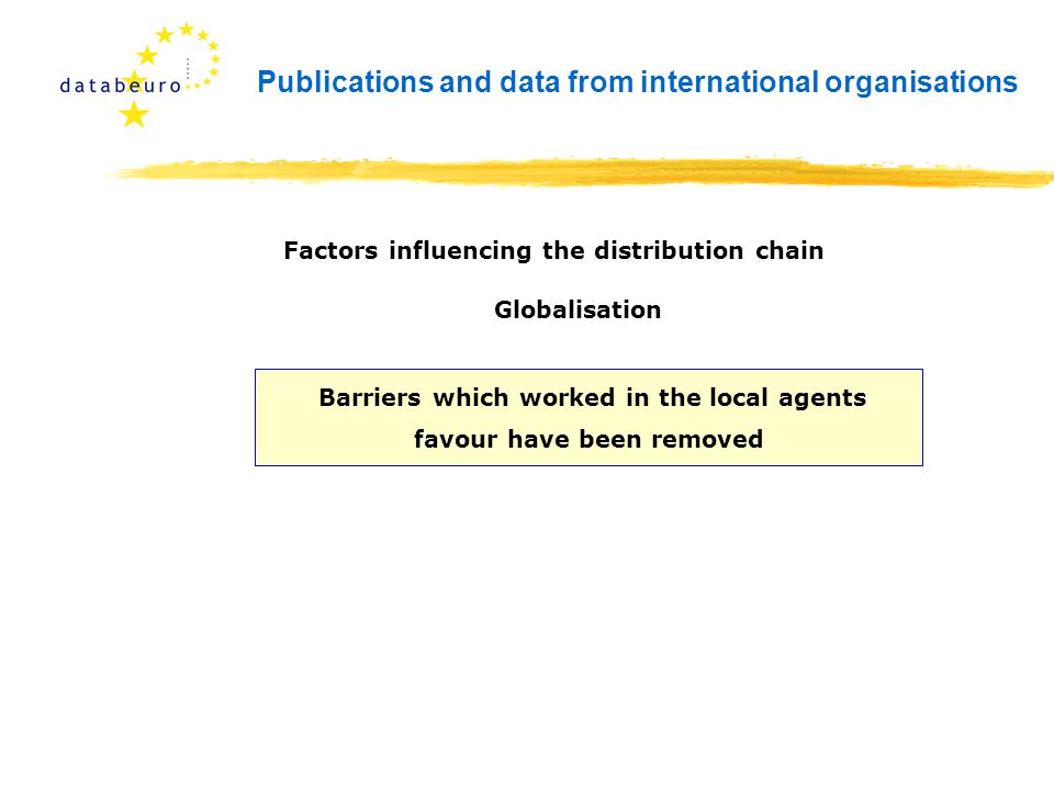 Publications and data from international organisations Barriers which worked in the local agents favour have been removed Factors influencing the distribution chain Globalisation