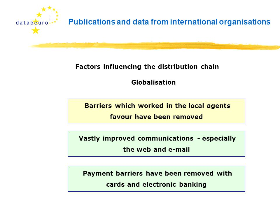 Publications and data from international organisations Barriers which worked in the local agents favour have been removed Factors influencing the distribution chain Globalisation Vastly improved communications - especially the web and e-mail Payment barriers have been removed with cards and electronic banking
