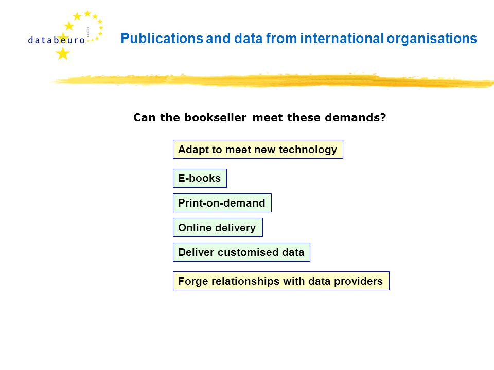 Publications and data from international organisations Can the bookseller meet these demands? Adapt to meet new technology Online delivery E-books Pri