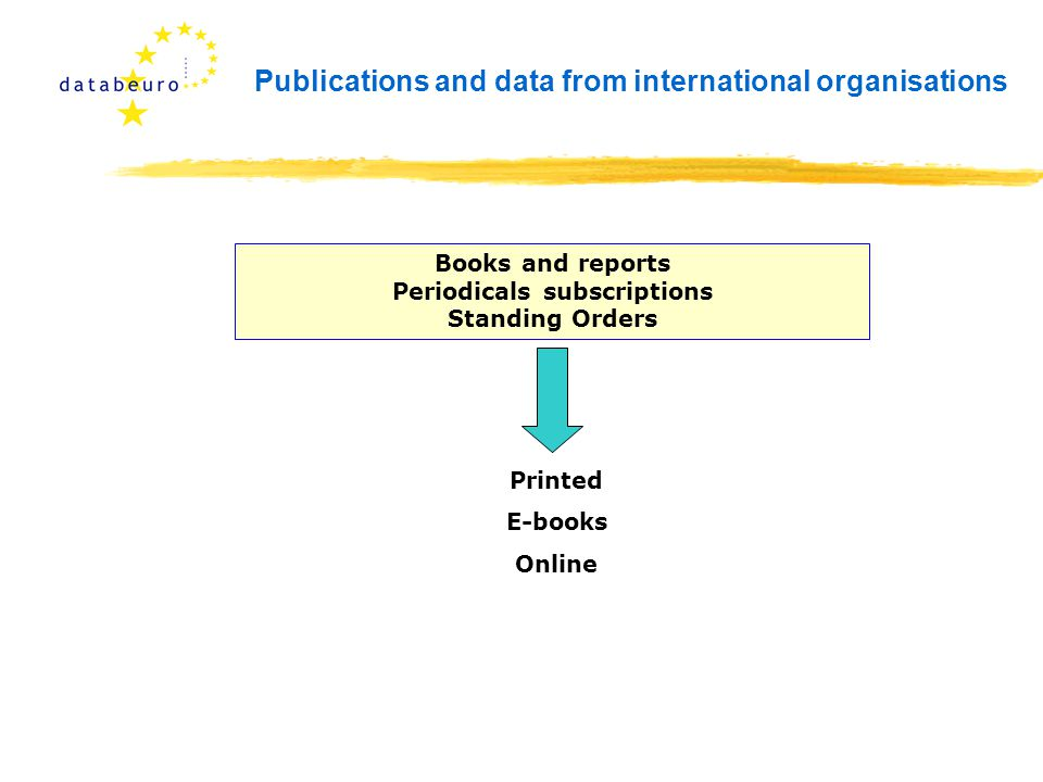 Publications and data from international organisations Books and reports Periodicals subscriptions Standing Orders Printed E-books Online