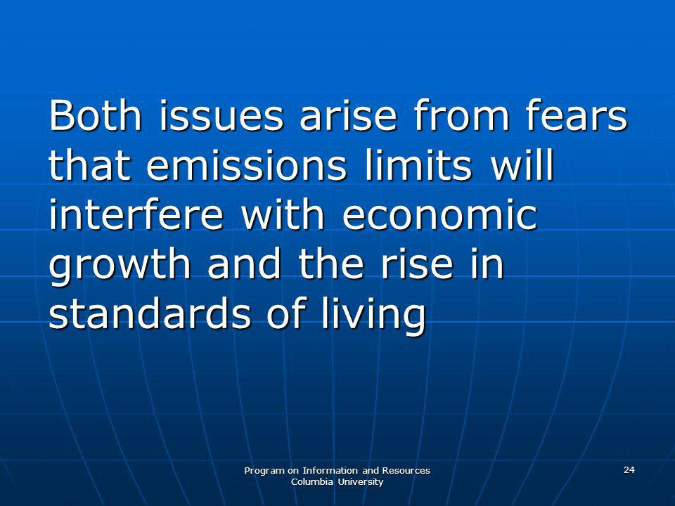 Program on Information and Resources Columbia University 24 Both issues arise from fears that emissions limits will interfere with economic growth and the rise in standards of living