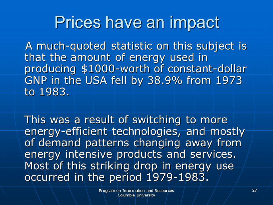 Program on Information and Resources Columbia University 27 Prices have an impact A much-quoted statistic on this subject is that the amount of energy used in producing $1000-worth of constant-dollar GNP in the USA fell by 38.9% from 1973 to 1983.