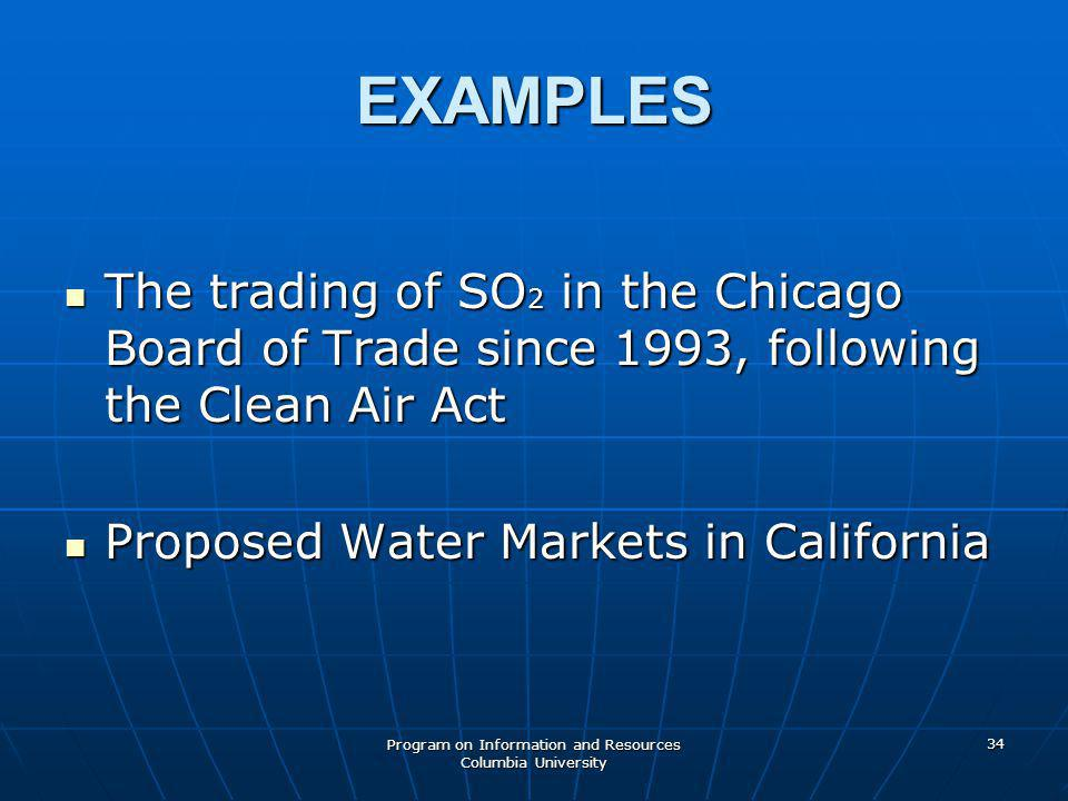 Program on Information and Resources Columbia University 34 EXAMPLES The trading of SO 2 in the Chicago Board of Trade since 1993, following the Clean Air Act The trading of SO 2 in the Chicago Board of Trade since 1993, following the Clean Air Act Proposed Water Markets in California Proposed Water Markets in California