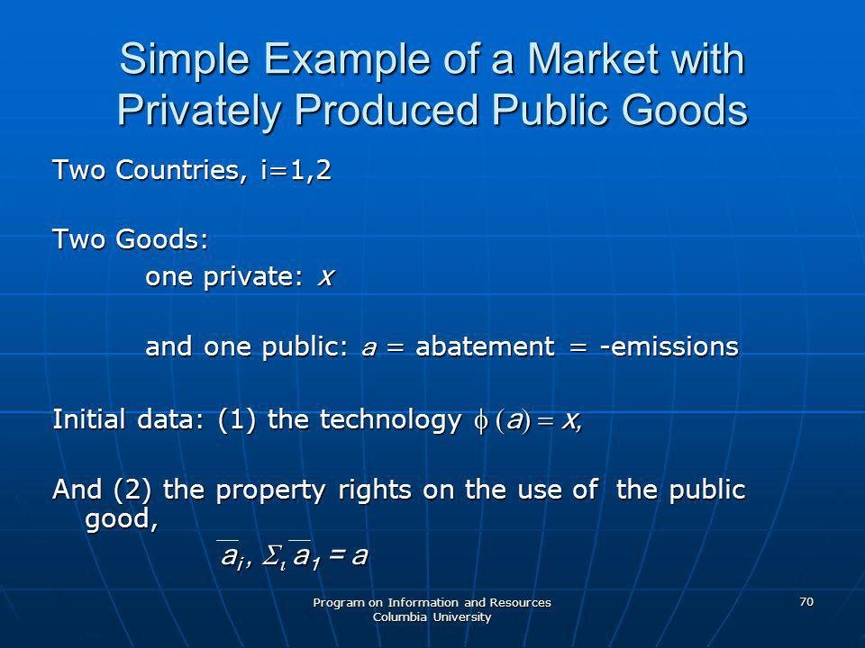 Program on Information and Resources Columbia University 70 Simple Example of a Market with Privately Produced Public Goods Two Countries, i=1,2 Two Goods: one private: x one private: x and one public: a = abatement = -emissions and one public: a = abatement = -emissions Initial data: (1) the technology  a  x, And (2) the property rights on the use of the public good, a i,    a 1 = a a i,    a 1 = a