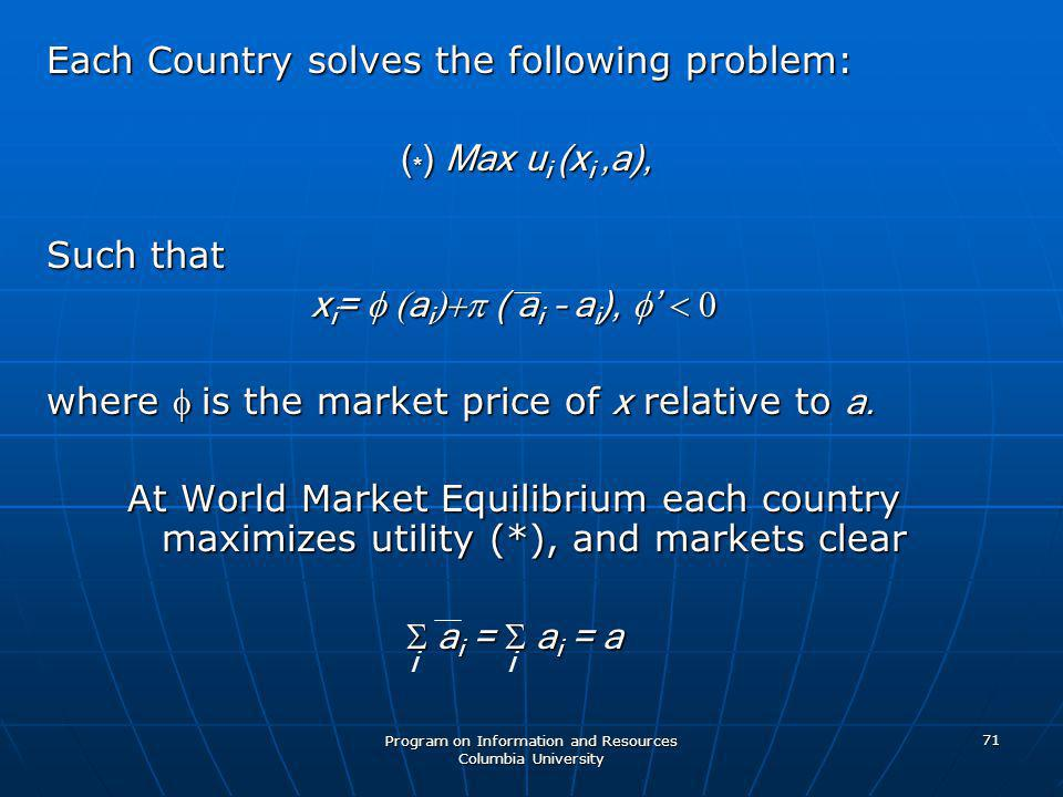 Program on Information and Resources Columbia University 71 Each Country solves the following problem: ( * ) Max u i (x i,a), ( * ) Max u i (x i,a), Such that x i =  a i  ( a i – a i ),  '  where is the market price of x relative to a.