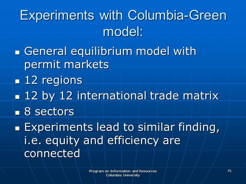 Program on Information and Resources Columbia University 75 Experiments with Columbia-Green model: General equilibrium model with permit markets General equilibrium model with permit markets 12 regions 12 regions 12 by 12 international trade matrix 12 by 12 international trade matrix 8 sectors 8 sectors Experiments lead to similar finding, i.e.
