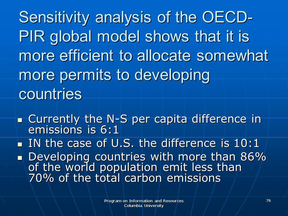 Program on Information and Resources Columbia University 76 Sensitivity analysis of the OECD- PIR global model shows that it is more efficient to allocate somewhat more permits to developing countries Currently the N-S per capita difference in emissions is 6:1 Currently the N-S per capita difference in emissions is 6:1 IN the case of U.S.