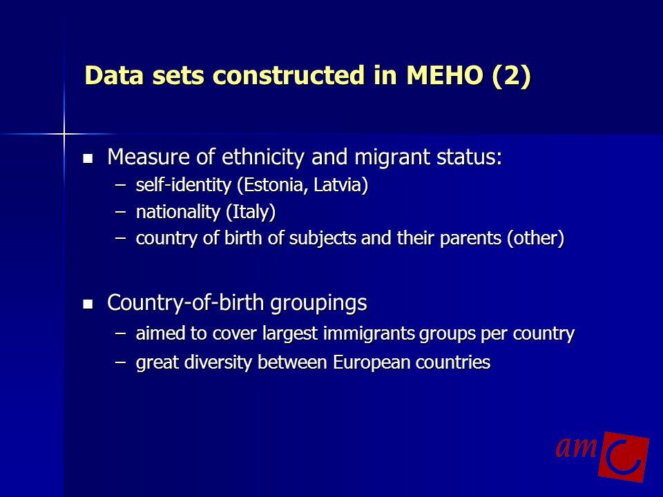 Data sets constructed in MEHO (2) Measure of ethnicity and migrant status: Measure of ethnicity and migrant status: –self-identity (Estonia, Latvia) –