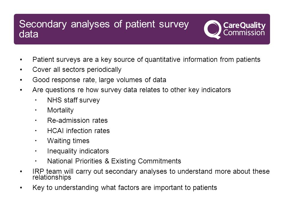 Secondary analyses of patient survey data Patient surveys are a key source of quantitative information from patients Cover all sectors periodically Good response rate, large volumes of data Are questions re how survey data relates to other key indicators  NHS staff survey  Mortality  Re-admission rates  HCAI infection rates  Waiting times  Inequality indicators  National Priorities & Existing Commitments IRP team will carry out secondary analyses to understand more about these relationships Key to understanding what factors are important to patients