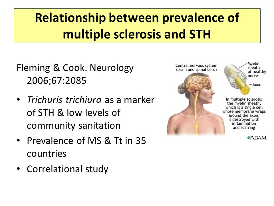 Relationship between prevalence of multiple sclerosis and STH Fleming & Cook.
