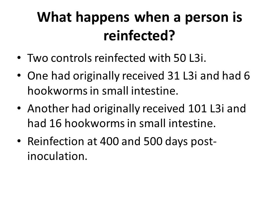 What happens when a person is reinfected. Two controls reinfected with 50 L3i.