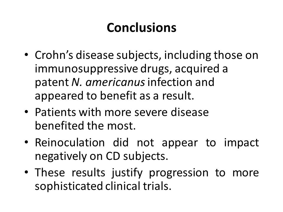 Conclusions Crohn's disease subjects, including those on immunosuppressive drugs, acquired a patent N.