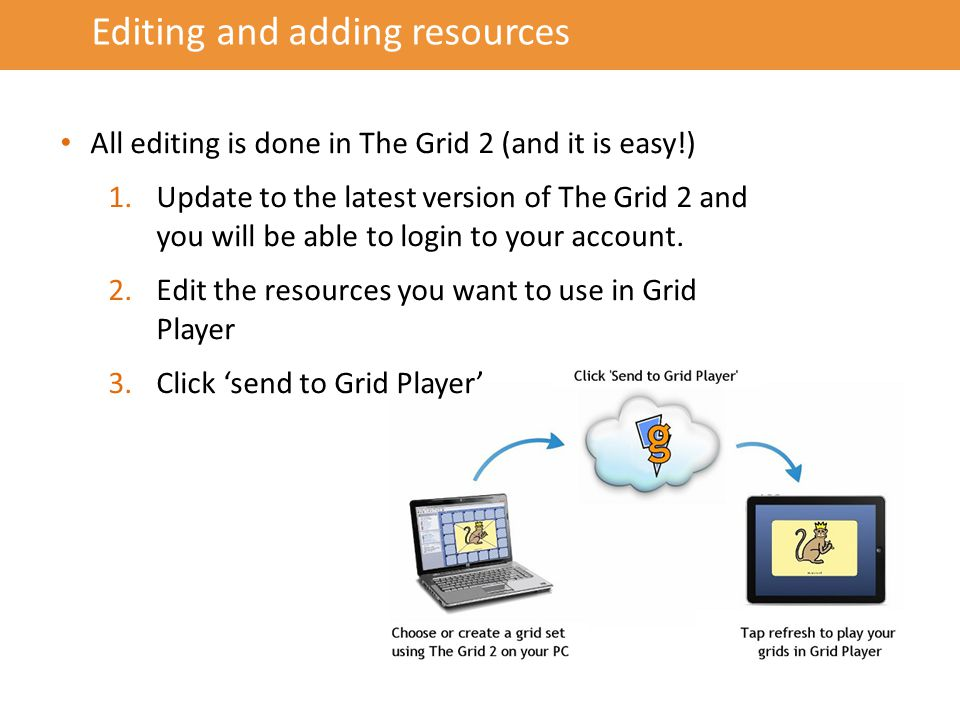 Editing and adding resources All editing is done in The Grid 2 (and it is easy!) 1.Update to the latest version of The Grid 2 and you will be able to login to your account.