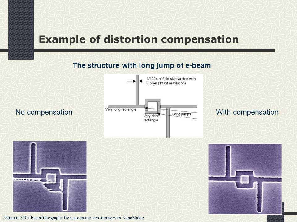 Ultimate 3D e-beam lithography for nano/micro-structuring with NanoMaker 23 Example of distortion compensation The structure with long jump of e-beam No compensationWith compensation