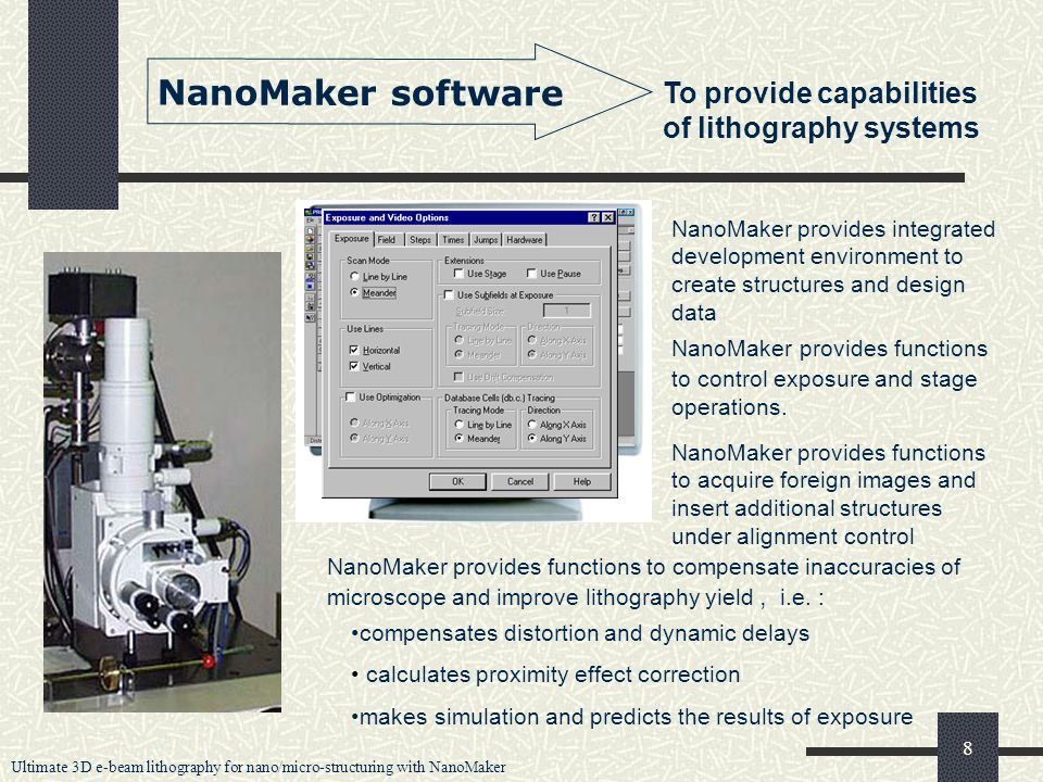Ultimate 3D e-beam lithography for nano/micro-structuring with NanoMaker 8 NanoMaker software To provide capabilities of lithography systems NanoMaker provides integrated development environment to create structures and design data NanoMaker provides functions to control exposure and stage operations.