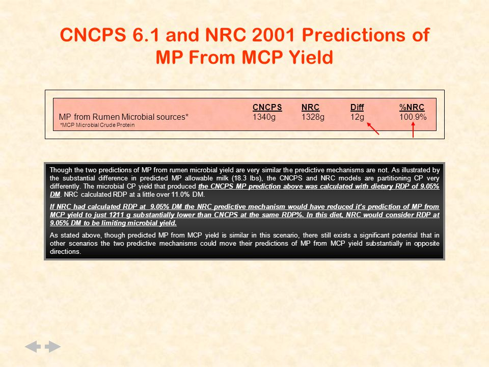 CNCPS 6.1 and NRC 2001 Predictions of MP From MCP Yield CNCPSNRCDiff%NRC MP from Rumen Microbial sources*1340g1328g12g100.9% *MCP Microbial Crude Protein Though the two predictions of MP from rumen microbial yield are very similar the predictive mechanisms are not.