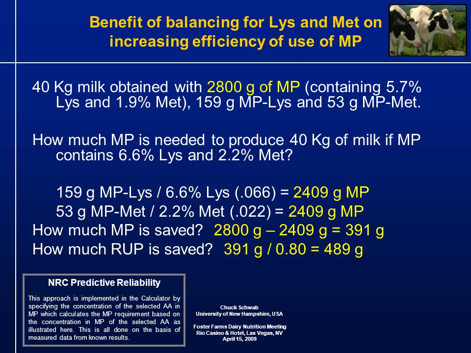 Benefit of balancing for Lys and Met on increasing efficiency of use of MP 40 Kg milk obtained with 2800 g of MP (containing 5.7% Lys and 1.9% Met), 159 g MP-Lys and 53 g MP-Met.