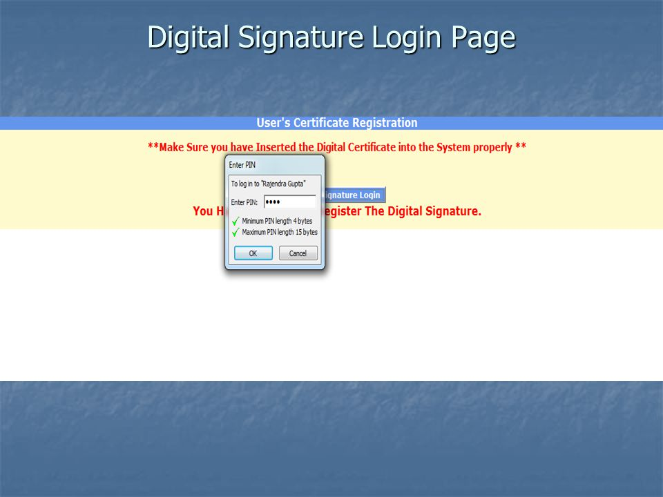 Digital Signature Login Page
