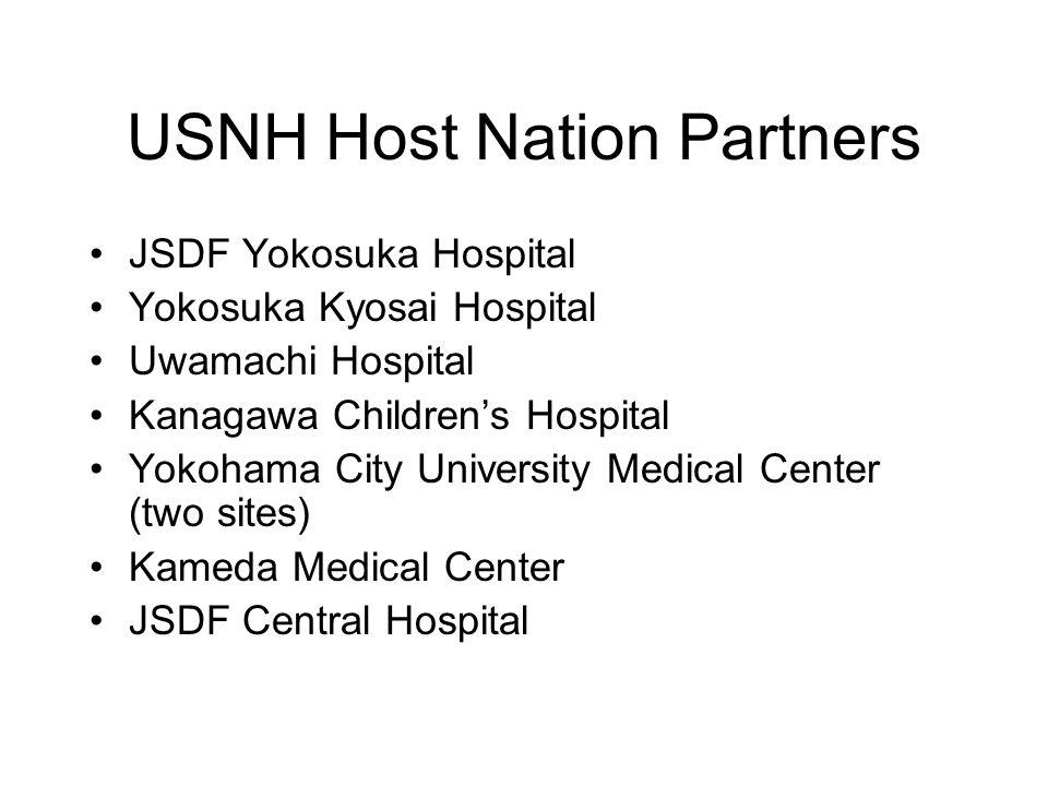 USNH Host Nation Partners JSDF Yokosuka Hospital Yokosuka Kyosai Hospital Uwamachi Hospital Kanagawa Children's Hospital Yokohama City University Medi