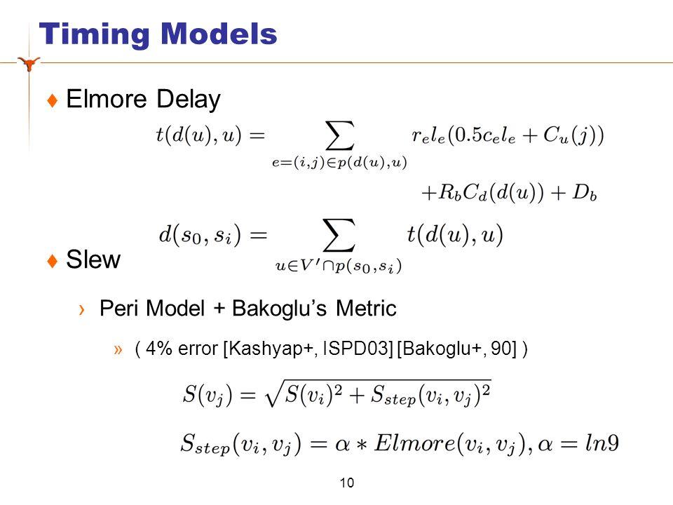 Timing Models  Elmore Delay  Slew ›Peri Model + Bakoglu's Metric » ( 4% error [Kashyap+, ISPD03] [Bakoglu+, 90] ) 10