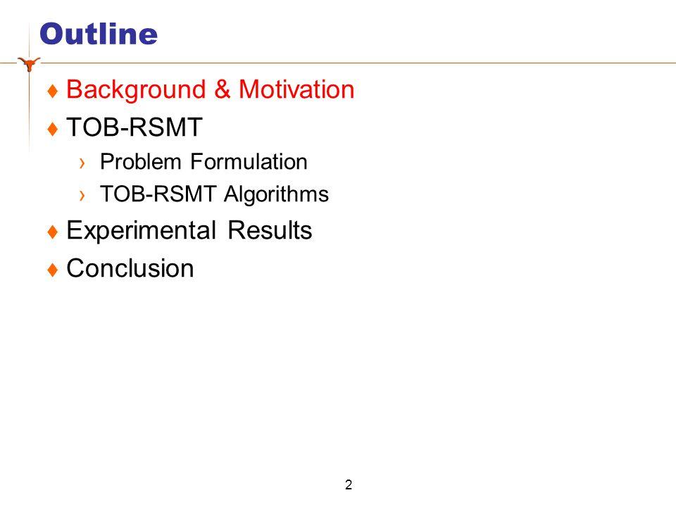 Outline  Background & Motivation  TOB-RSMT ›Problem Formulation ›TOB-RSMT Algorithms  Experimental Results  Conclusion 2