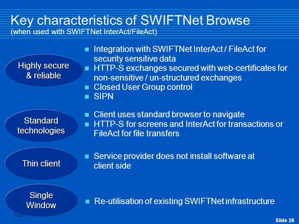 Slide 26 Key characteristics of SWIFTNet Browse (when used with SWIFTNet InterAct/FileAct) Highly secure & reliable Integration with SWIFTNet InterAct / FileAct for security sensitive data HTTP-S exchanges secured with web-certificates for non-sensitive / un-structured exchanges Closed User Group control SIPN Standard technologies Client uses standard browser to navigate HTTP-S for screens and InterAct for transactions or FileAct for file transfers Re-utilisation of existing SWIFTNet infrastructure Single Window Thin client Service provider does not install software at client side